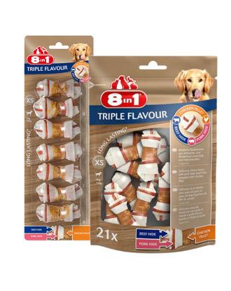 8in1 Triple Flavour Bones XS - przysmaki dla psów, w kształcie kości