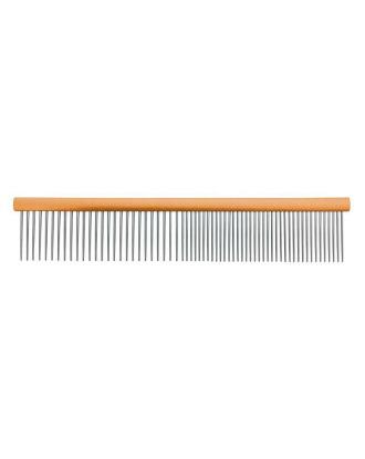 Grzebień metalowy Groom Professional 19cm - mieszany rozstaw ząbków 50/50 pomarańczowy