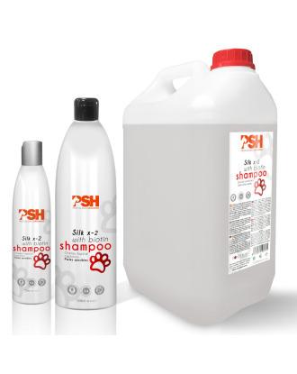 PSH  Silk X-2 With Biotin Shampoo - szampon z biotyną i proteinami dla psów z długim włosem i wrażliwym naskórkiem, koncentrat 1:4