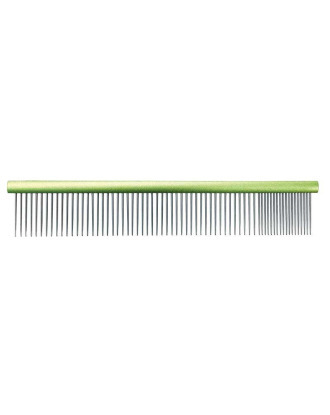 Grzebień metalowy Groom Professional 19cm - mieszany rozstaw ząbków 80/20 zielony