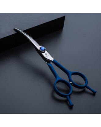 """Jargem Blue Curved Scissors 6""""- nożyczki groomerskie gięte z ozdobną śrubą, niebieskie"""