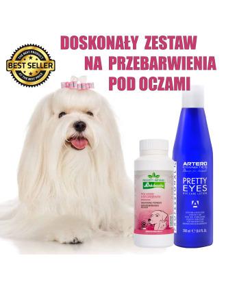 Artero Pretty Eyes 250ml + Baldecchi Absorbing Powder 90g - zestaw do walki z przebarwieniami, dla białych psów
