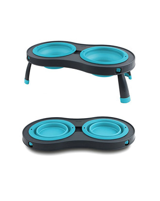 Dexas Double Elevated Feeder - Dog Bowls On Foldable Stand, Turquoise