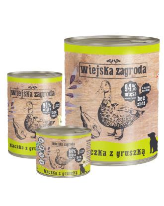 Wiejska Zagroda Kaczka z Gruszką - pełnowartościowa mokra karma dla psów aktywnych
