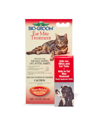 Bio-Groom Ear Mite Treatment With Soothing Aloe Vera for Dogs & Cats