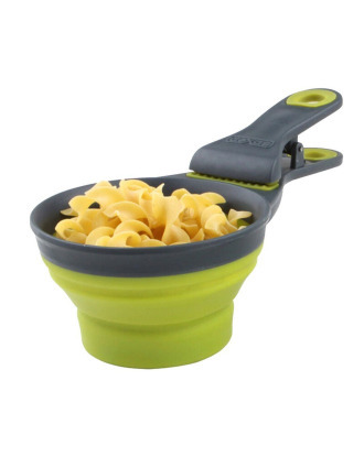 Dexas Collapsible KlipScoop 3w1 Small 118ml - Foldable Food Scoop, Measuring Cup And Bag Clip In One, Green